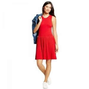 A New Day Red Knit Pleated Sleeveless Dress
